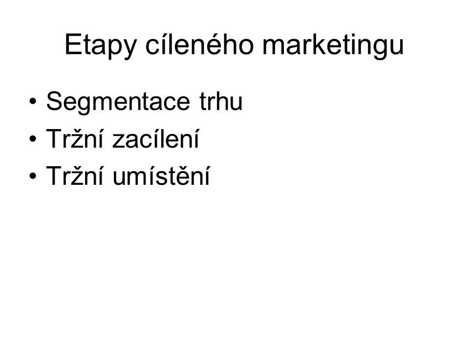 Etapy cíleného marketingu Segmentace trhu Tržní zacílení Tržní umístění