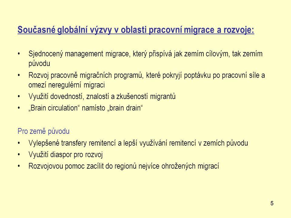 """5 Současné globální výzvy v oblasti pracovní migrace a rozvoje: Sjednocený management migrace, který přispívá jak zemím cílovým, tak zemím původu Rozvoj pracovně migračních programů, které pokryjí poptávku po pracovní síle a omezí neregulérní migraci Využití dovedností, znalostí a zkušeností migrantů """"Brain circulation namísto """"brain drain Pro země původu Vylepšené transfery remitencí a lepší využívání remitencí v zemích původu Využití diaspor pro rozvoj Rozvojovou pomoc zacílit do regionů nejvíce ohrožených migrací"""