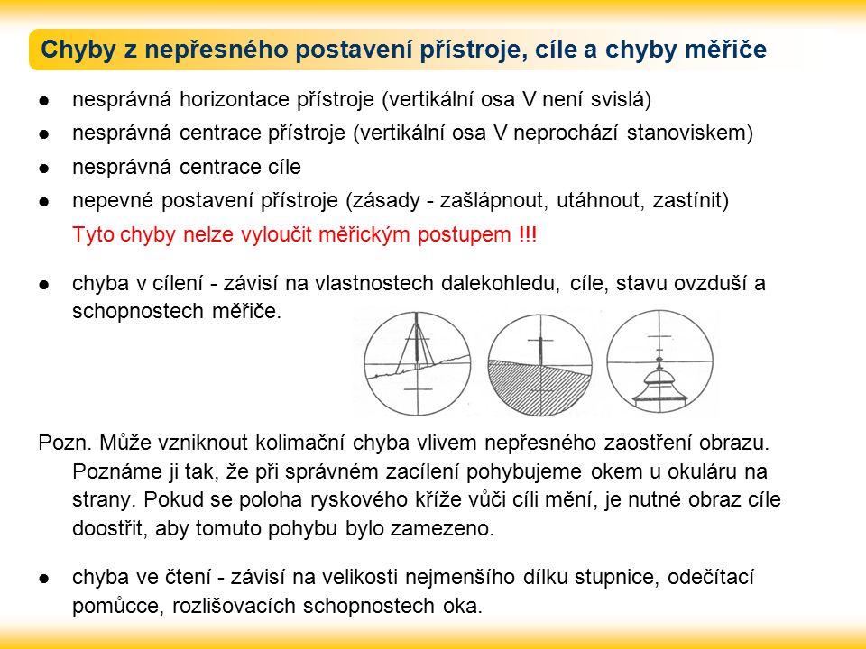 Chyby z nepřesného postavení přístroje, cíle a chyby měřiče nesprávná horizontace přístroje (vertikální osa V není svislá) nesprávná centrace přístroje (vertikální osa V neprochází stanoviskem) nesprávná centrace cíle nepevné postavení přístroje (zásady - zašlápnout, utáhnout, zastínit) Tyto chyby nelze vyloučit měřickým postupem !!.