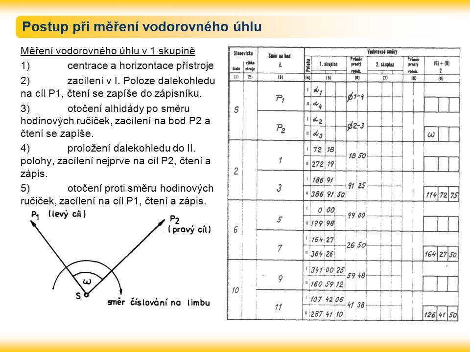 Postup při měření vodorovného úhlu Měření vodorovného úhlu v 1 skupině 1) centrace a horizontace přístroje 2) zacílení v I.