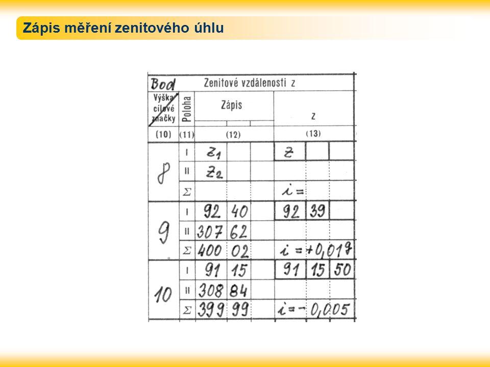 Zápis měření zenitového úhlu