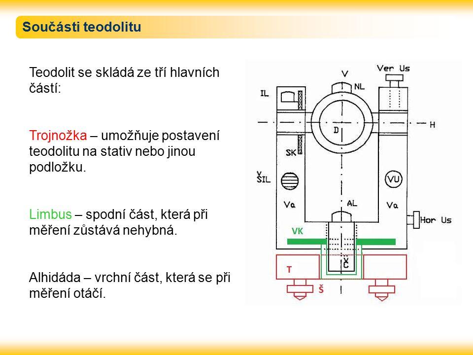 Součásti teodolitu Teodolit se skládá ze tří hlavních částí: Trojnožka – umožňuje postavení teodolitu na stativ nebo jinou podložku.