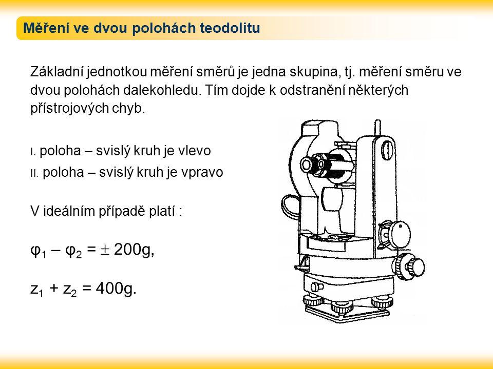 Osové podmínky teodolitu Při měření musí být teodolit zcentrován a zhorizontován (viz.