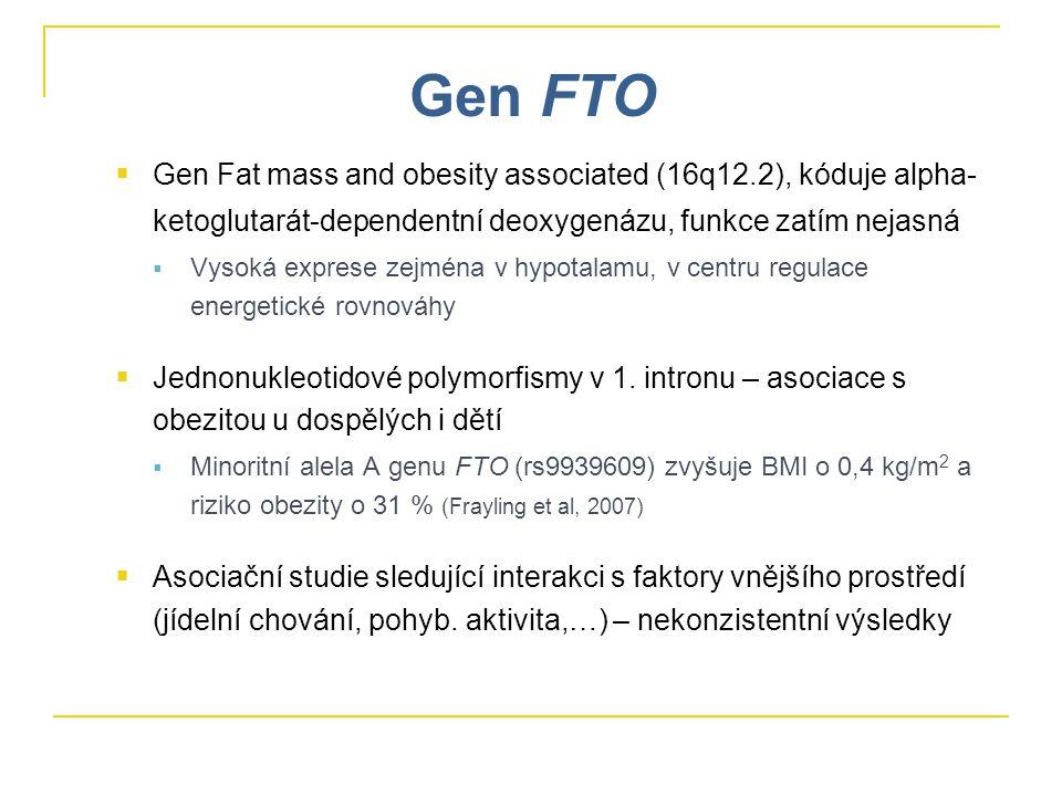 Gen FTO  Gen Fat mass and obesity associated (16q12.2), kóduje alpha- ketoglutarát-dependentní deoxygenázu, funkce zatím nejasná  Vysoká exprese zejména v hypotalamu, v centru regulace energetické rovnováhy  Jednonukleotidové polymorfismy v 1.