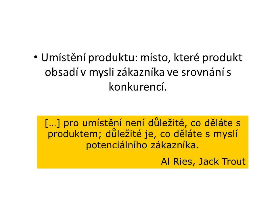 Umístění produktu: místo, které produkt obsadí v mysli zákazníka ve srovnání s konkurencí. […] pro umístění není důležité, co děláte s produktem; důle
