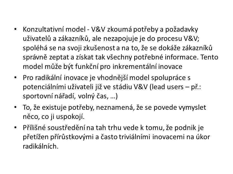 Konzultativní model - V&V zkoumá potřeby a požadavky uživatelů a zákazníků, ale nezapojuje je do procesu V&V; spoléhá se na svoji zkušenost a na to, že se dokáže zákazníků správně zeptat a získat tak všechny potřebné informace.