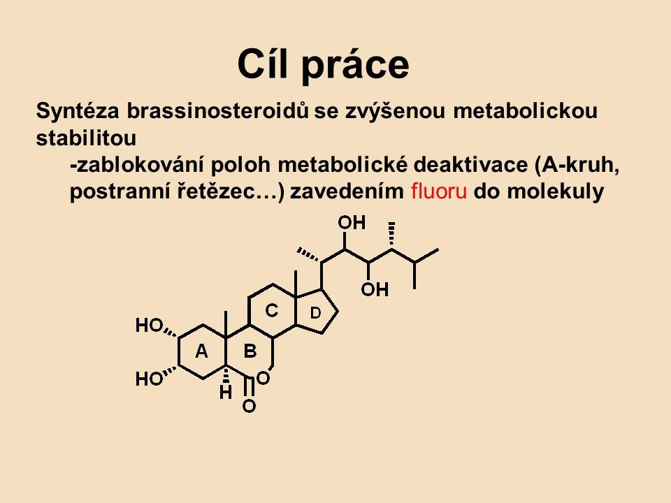 Cíl práce Syntéza brassinosteroidů se zvýšenou metabolickou stabilitou -zablokování poloh metabolické deaktivace (A-kruh, postranní řetězec…) zavedení