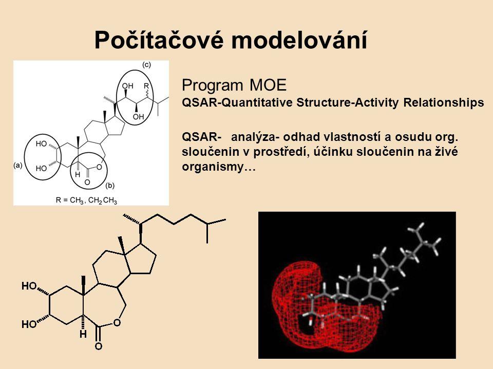 Počítačové modelování Program MOE QSAR-Quantitative Structure-Activity Relationships QSAR-analýza- odhad vlastností a osudu org. sloučenin v prostředí