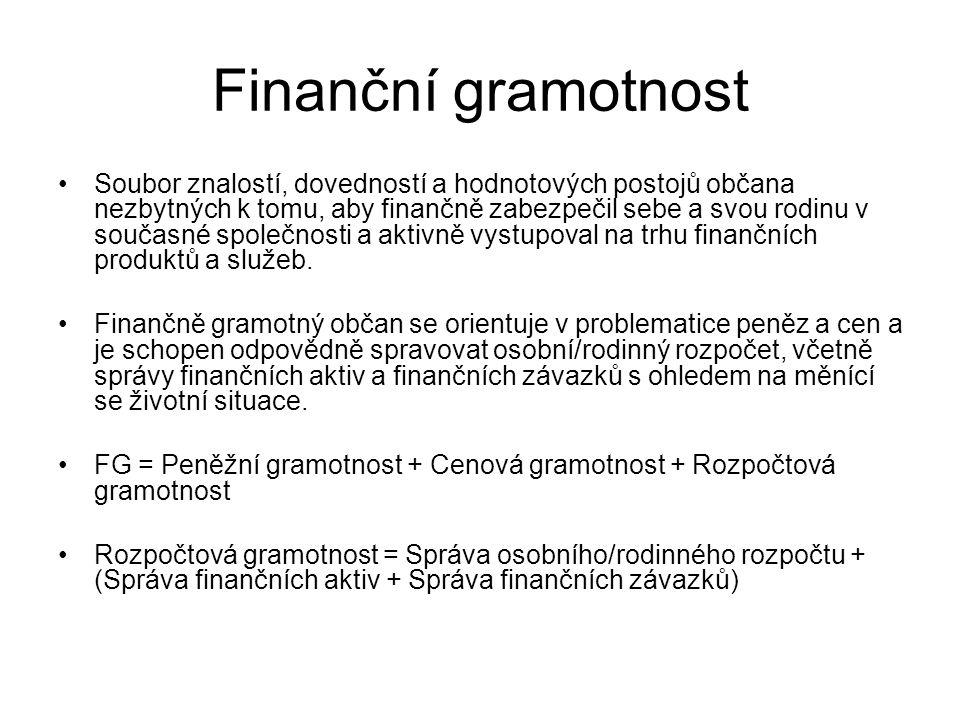 Finanční gramotnost Soubor znalostí, dovedností a hodnotových postojů občana nezbytných k tomu, aby finančně zabezpečil sebe a svou rodinu v současné společnosti a aktivně vystupoval na trhu finančních produktů a služeb.