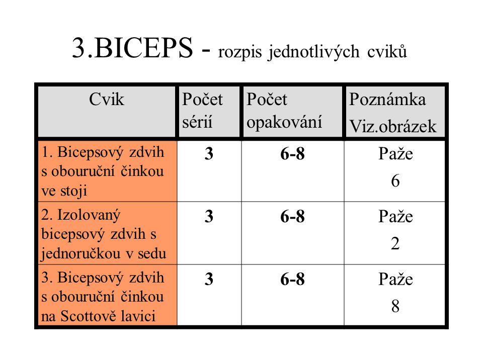 3.BICEPS - rozpis jednotlivých cviků CvikPočet sérií Počet opakování Poznámka Viz.obrázek 1.