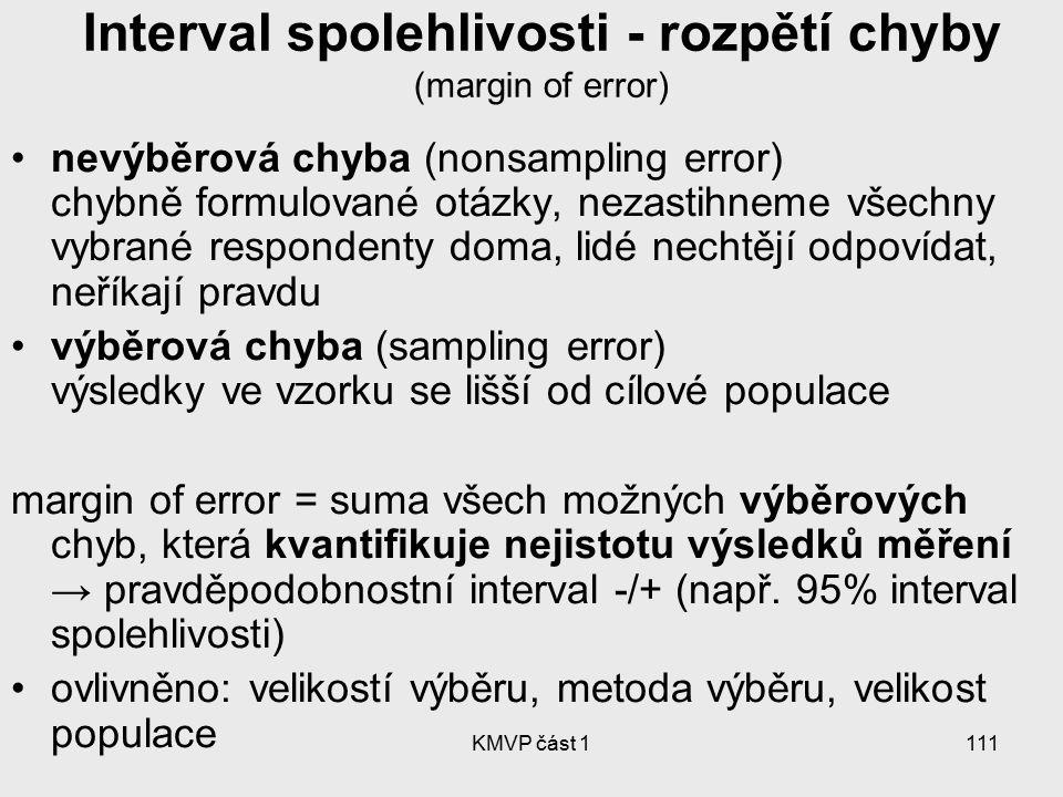 KMVP část 1111 Interval spolehlivosti - rozpětí chyby (margin of error) nevýběrová chyba (nonsampling error) chybně formulované otázky, nezastihneme v