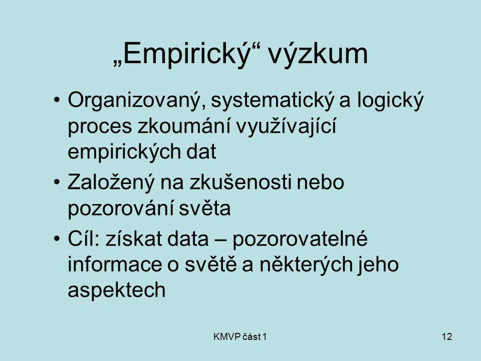"""KMVP část 112 """"Empirický"""" výzkum Organizovaný, systematický a logický proces zkoumání využívající empirických dat Založený na zkušenosti nebo pozorová"""