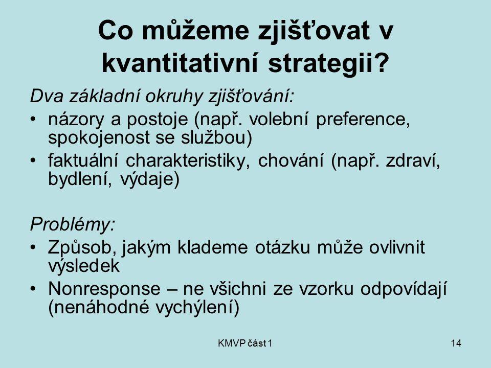 KMVP část 114 Co můžeme zjišťovat v kvantitativní strategii? Dva základní okruhy zjišťování: názory a postoje (např. volební preference, spokojenost s