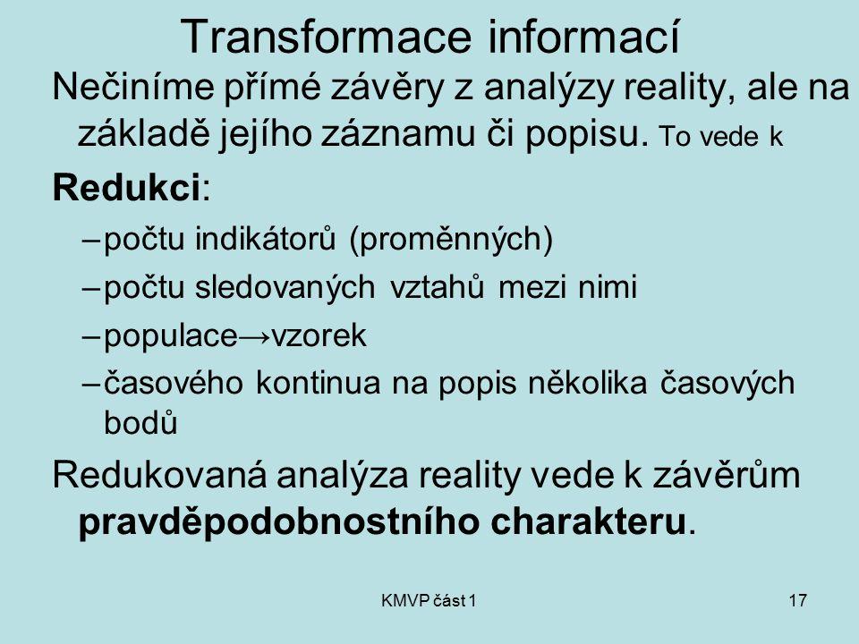 KMVP část 117 Transformace informací Nečiníme přímé závěry z analýzy reality, ale na základě jejího záznamu či popisu. To vede k Redukci: –počtu indik