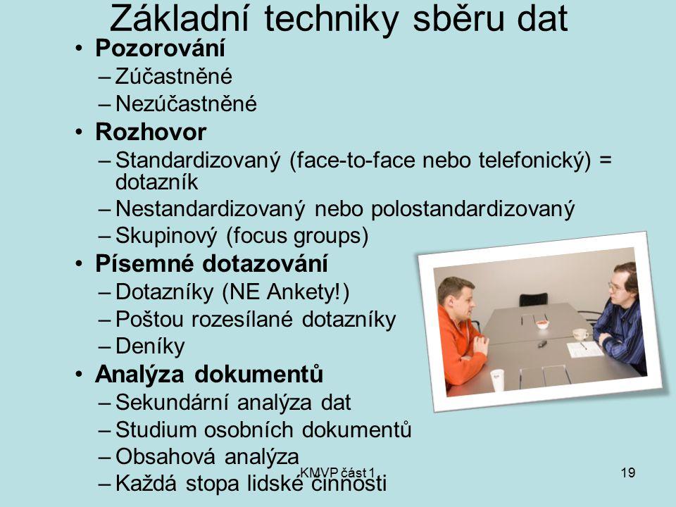 KMVP část 119 Základní techniky sběru dat Pozorování –Zúčastněné –Nezúčastněné Rozhovor –Standardizovaný (face-to-face nebo telefonický) = dotazník –N