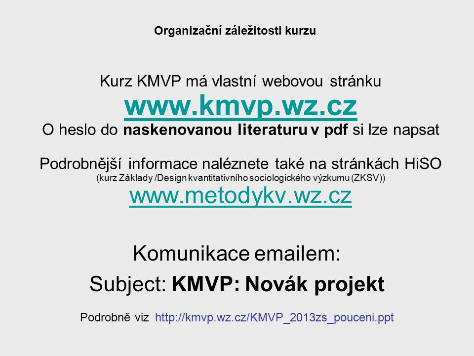 KMVP část 13 Struktura Cíl kurzu Co je výzkum Epistemologické problémy Dvě metody poznání Kvantitativní a kvalitativní výzkumná strategie Limity sociálněvědního výzkumu Základní pojmy Kroky kvantitativního výzkumu a postup výzkumníka Základní techniky sběru dat Koncept standardizace Strategie v kvantitativním výzkumu (research design) Základní modely uspořádání výběrového šetření Logika kvantitativního výzkumu Výzkumný problém / otázka (příklady) Konceptualizace a operacionalizace Hypotézy Výzkumný projekt