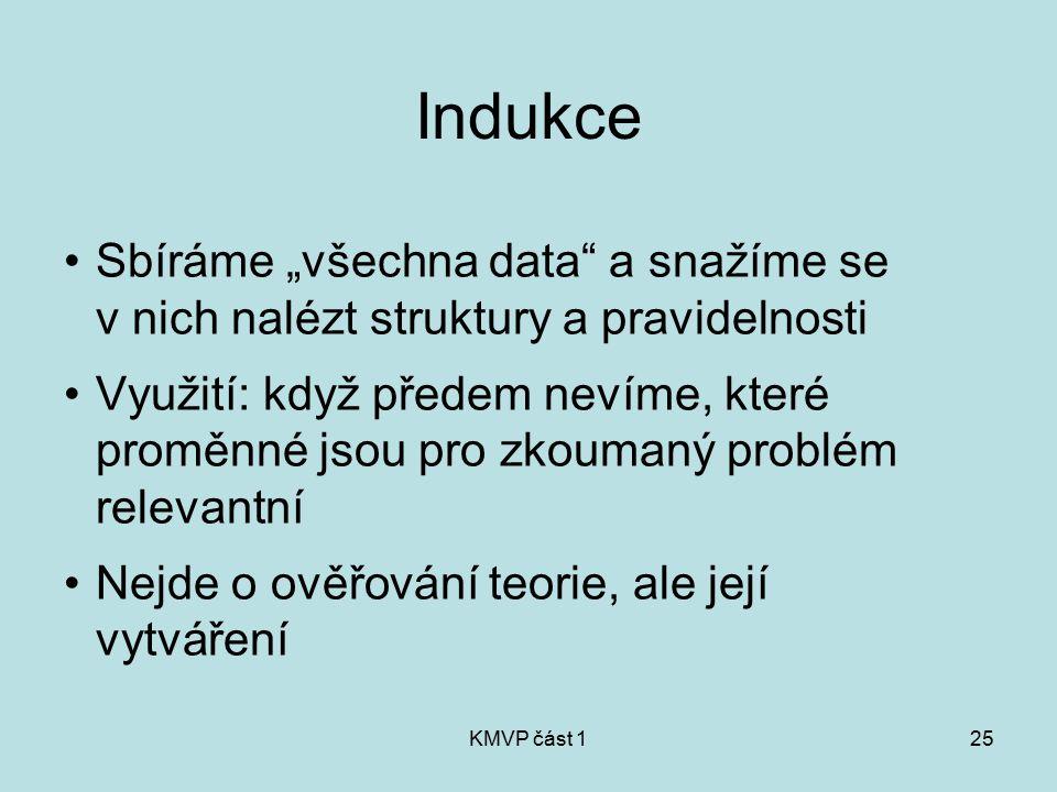 """KMVP část 125 Indukce Sbíráme """"všechna data"""" a snažíme se v nich nalézt struktury a pravidelnosti Využití: když předem nevíme, které proměnné jsou pro"""