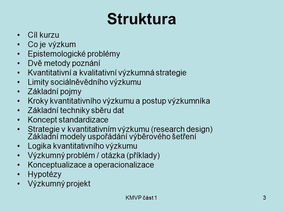 KMVP část 13 Struktura Cíl kurzu Co je výzkum Epistemologické problémy Dvě metody poznání Kvantitativní a kvalitativní výzkumná strategie Limity sociá