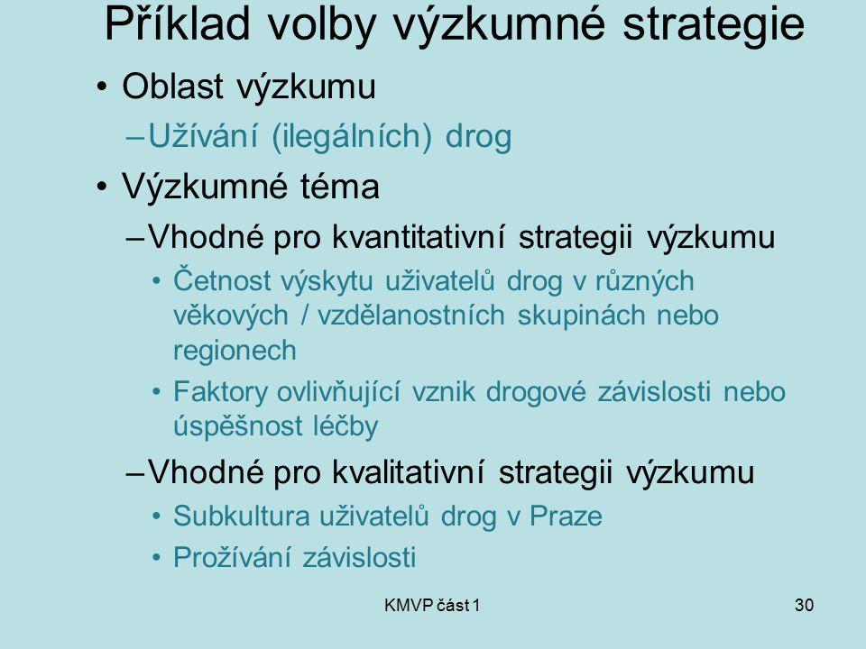 KMVP část 130 Příklad volby výzkumné strategie Oblast výzkumu –Užívání (ilegálních) drog Výzkumné téma –Vhodné pro kvantitativní strategii výzkumu Čet