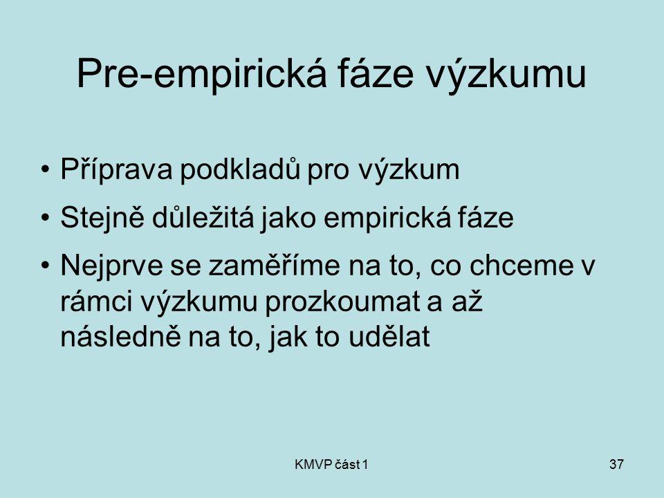KMVP část 137 Pre-empirická fáze výzkumu Příprava podkladů pro výzkum Stejně důležitá jako empirická fáze Nejprve se zaměříme na to, co chceme v rámci