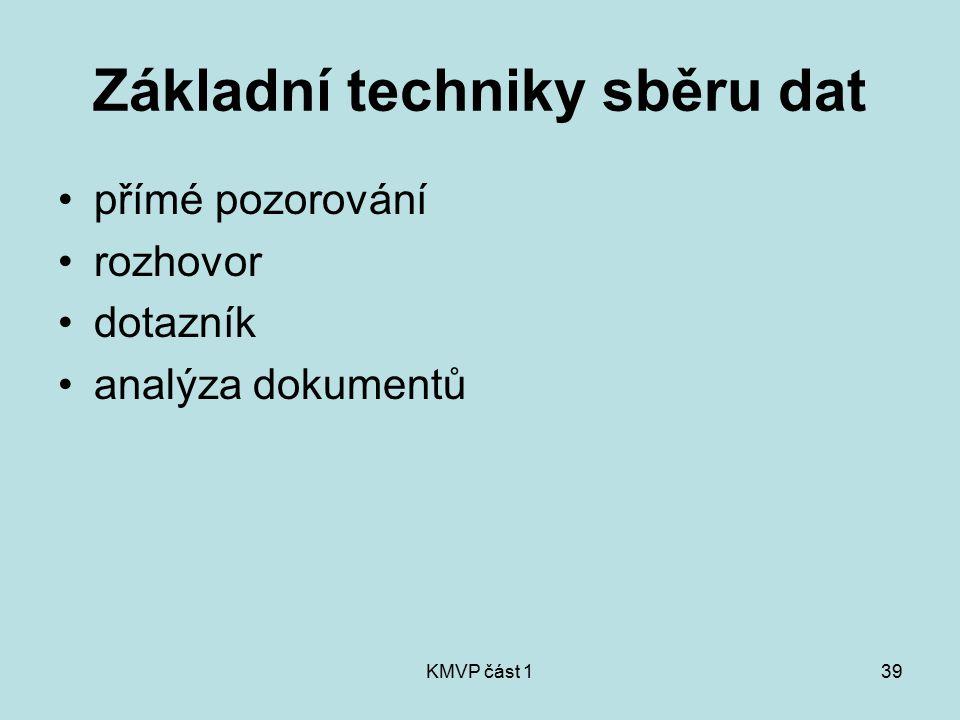 KMVP část 139 Základní techniky sběru dat přímé pozorování rozhovor dotazník analýza dokumentů