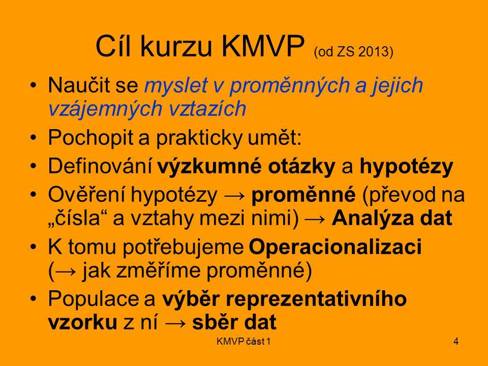 KMVP část 14 Cíl kurzu KMVP (od ZS 2013) Naučit se myslet v proměnných a jejich vzájemných vztazích Pochopit a prakticky umět: Definování výzkumné otá
