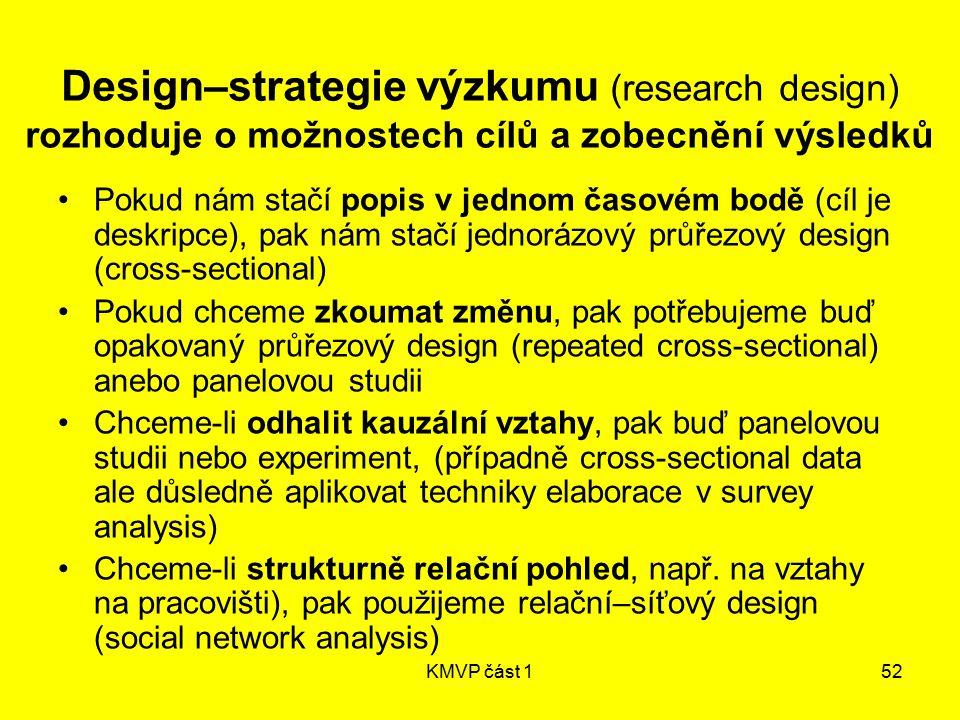 KMVP část 152 Design–strategie výzkumu (research design) rozhoduje o možnostech cílů a zobecnění výsledků Pokud nám stačí popis v jednom časovém bodě
