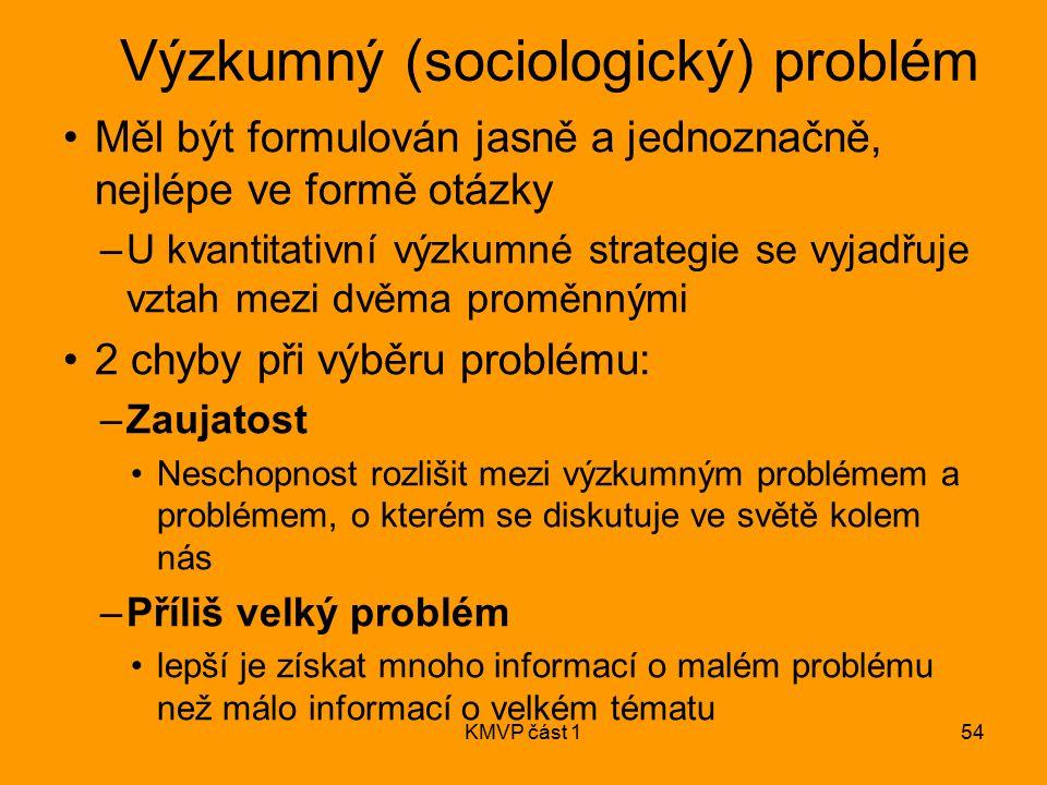 KMVP část 154 Výzkumný (sociologický) problém Měl být formulován jasně a jednoznačně, nejlépe ve formě otázky –U kvantitativní výzkumné strategie se v
