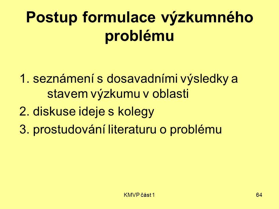 KMVP část 164 Postup formulace výzkumného problému 1. seznámení s dosavadními výsledky a stavem výzkumu v oblasti 2. diskuse ideje s kolegy 3. prostud