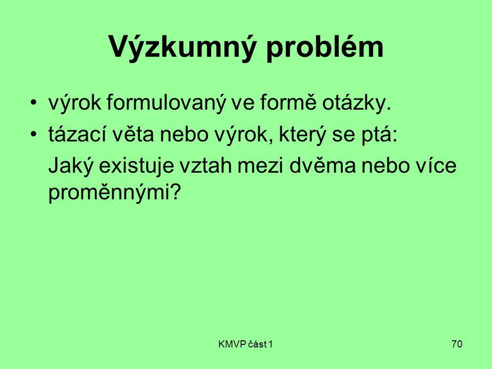 KMVP část 170 Výzkumný problém výrok formulovaný ve formě otázky. tázací věta nebo výrok, který se ptá: Jaký existuje vztah mezi dvěma nebo více promě