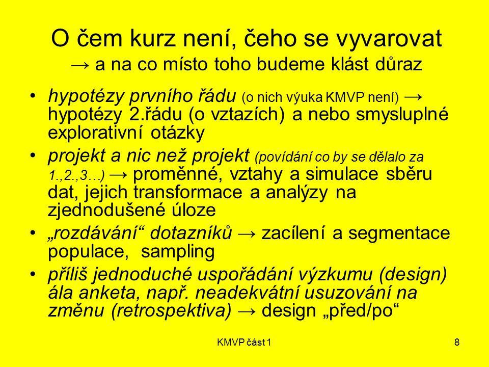 KMVP část 18 O čem kurz není, čeho se vyvarovat → a na co místo toho budeme klást důraz hypotézy prvního řádu (o nich výuka KMVP není) → hypotézy 2.řá