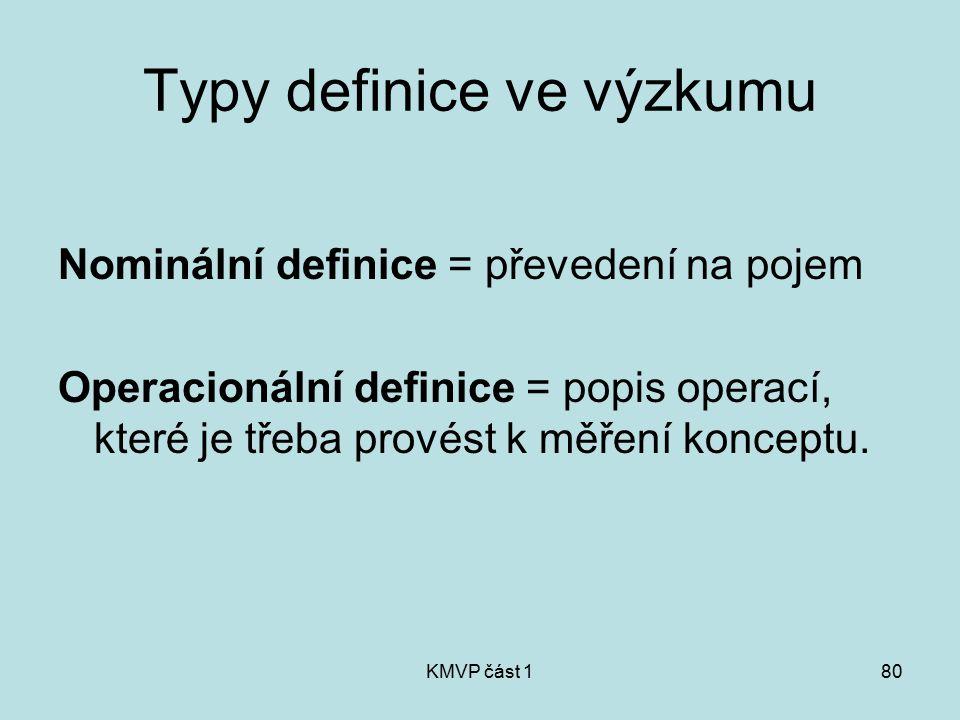 KMVP část 180 Typy definice ve výzkumu Nominální definice = převedení na pojem Operacionální definice = popis operací, které je třeba provést k měření