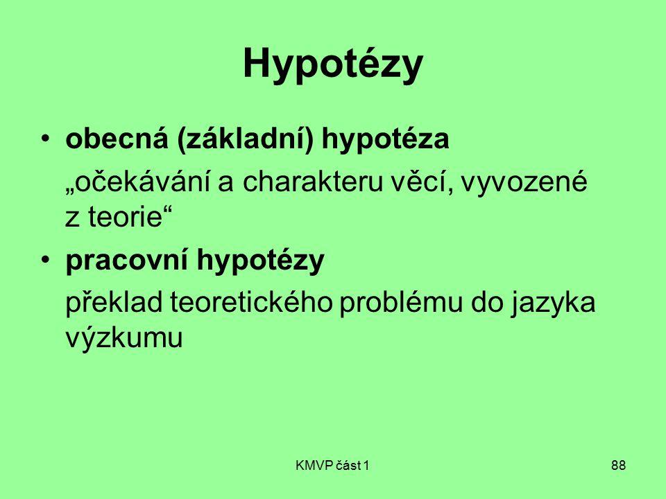 """KMVP část 188 Hypotézy obecná (základní) hypotéza """"očekávání a charakteru věcí, vyvozené z teorie"""" pracovní hypotézy překlad teoretického problému do"""