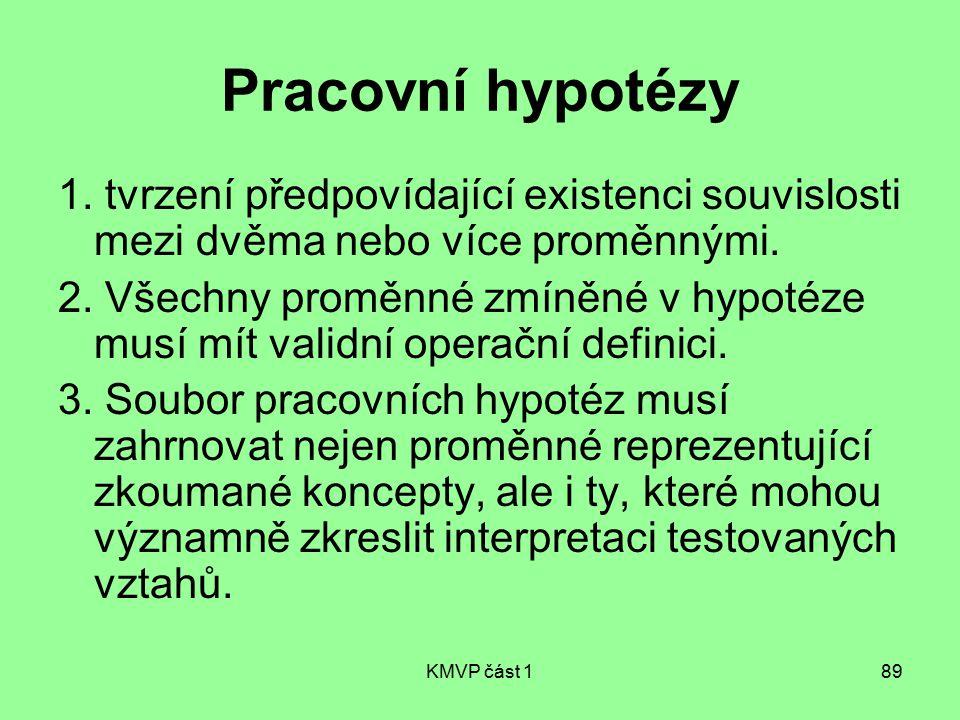 KMVP část 189 Pracovní hypotézy 1. tvrzení předpovídající existenci souvislosti mezi dvěma nebo více proměnnými. 2. Všechny proměnné zmíněné v hypotéz