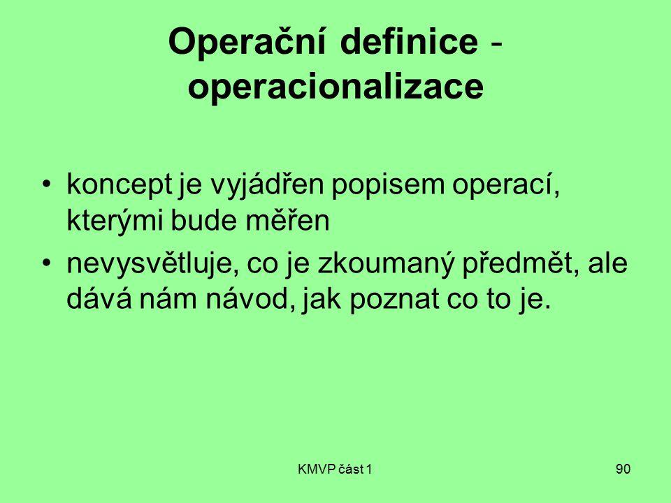 KMVP část 190 Operační definice - operacionalizace koncept je vyjádřen popisem operací, kterými bude měřen nevysvětluje, co je zkoumaný předmět, ale d