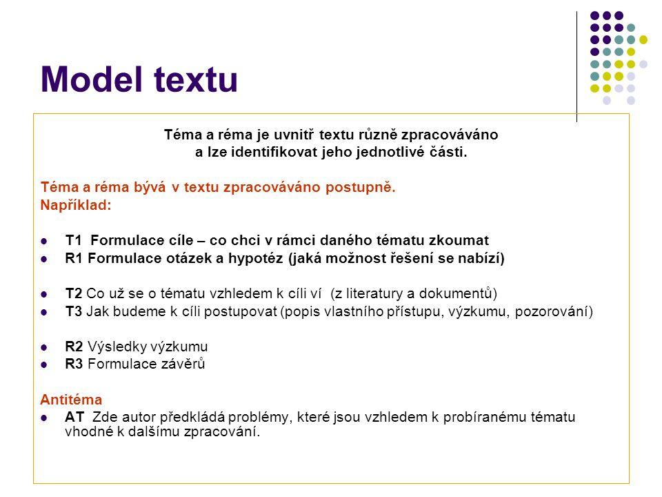 Model textu Téma a réma je uvnitř textu různě zpracováváno a lze identifikovat jeho jednotlivé části.