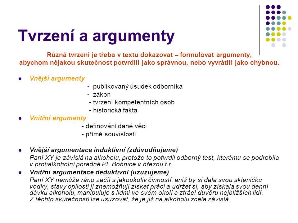 Tvrzení a argumenty Různá tvrzení je třeba v textu dokazovat – formulovat argumenty, abychom nějakou skutečnost potvrdili jako správnou, nebo vyvrátili jako chybnou.