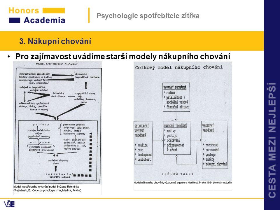 Psychologie spotřebitele zítřka Pro zajímavost uvádíme starší modely nákupního chování 3. Nákupní chování