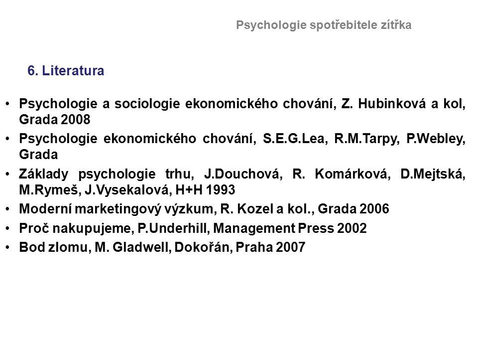 6. Literatura Psychologie a sociologie ekonomického chování, Z. Hubinková a kol, Grada 2008 Psychologie ekonomického chování, S.E.G.Lea, R.M.Tarpy, P.