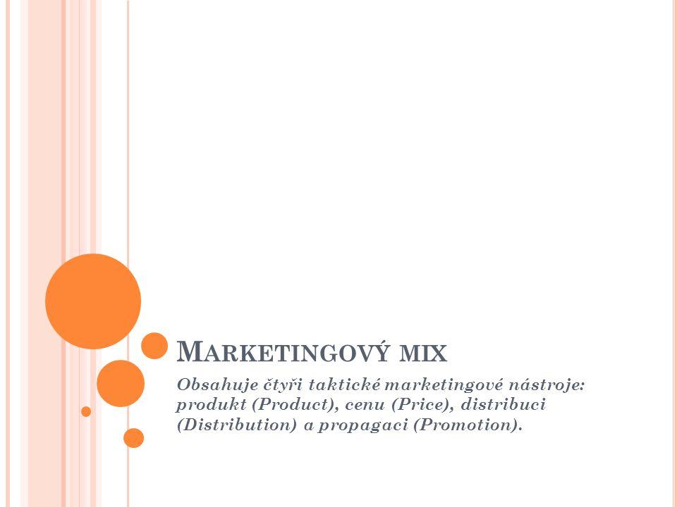 M ARKETINGOVÝ MIX Obsahuje čtyři taktické marketingové nástroje: produkt (Product), cenu (Price), distribuci (Distribution) a propagaci (Promotion).