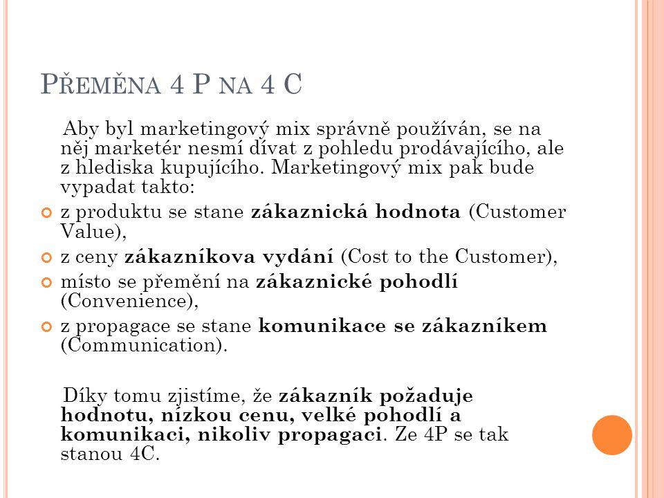 P ŘEMĚNA 4 P NA 4 C Aby byl marketingový mix správně používán, se na něj marketér nesmí dívat z pohledu prodávajícího, ale z hlediska kupujícího. Mark