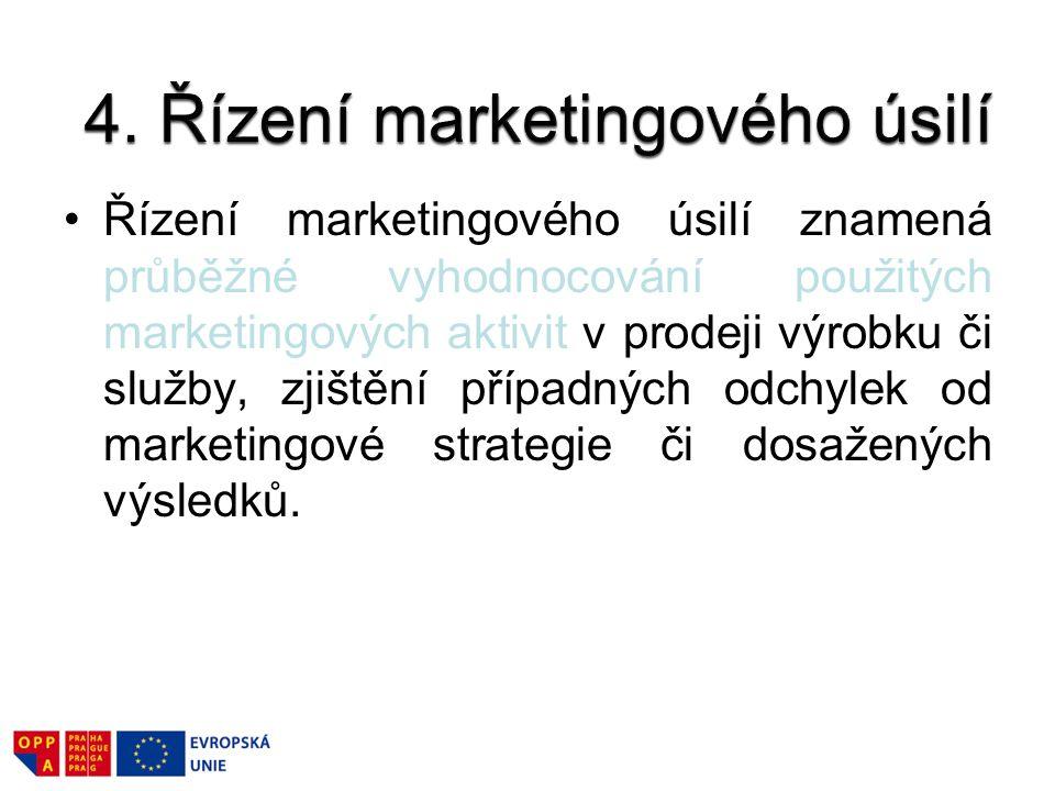 Řízení marketingového úsilí znamená průběžné vyhodnocování použitých marketingových aktivit v prodeji výrobku či služby, zjištění případných odchylek
