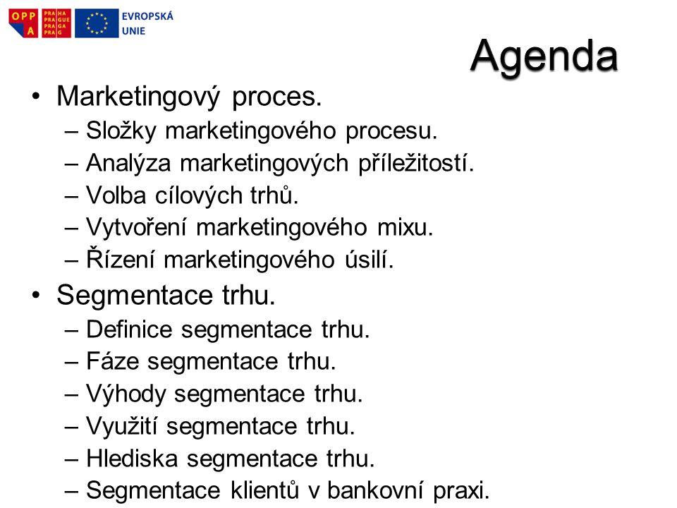 Marketingový proces. –Složky marketingového procesu. –Analýza marketingových příležitostí. –Volba cílových trhů. –Vytvoření marketingového mixu. –Říze