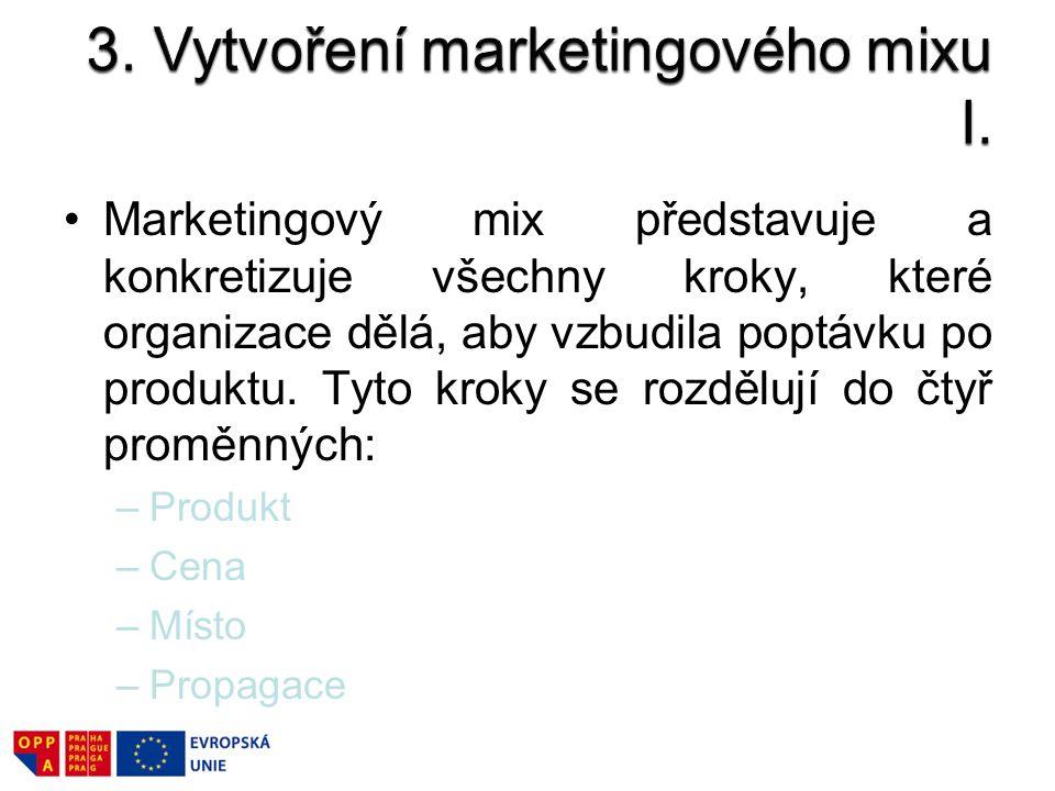 Marketingový mix představuje a konkretizuje všechny kroky, které organizace dělá, aby vzbudila poptávku po produktu. Tyto kroky se rozdělují do čtyř p