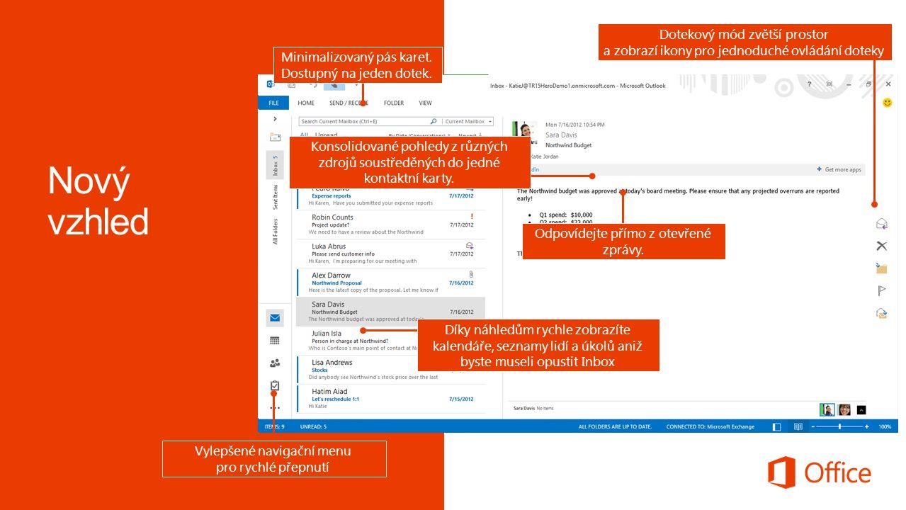 Odpovídejte přímo z otevřené zprávy. Díky náhledům rychle zobrazíte kalendáře, seznamy lidí a úkolů aniž byste museli opustit Inbox Minimalizovaný pás