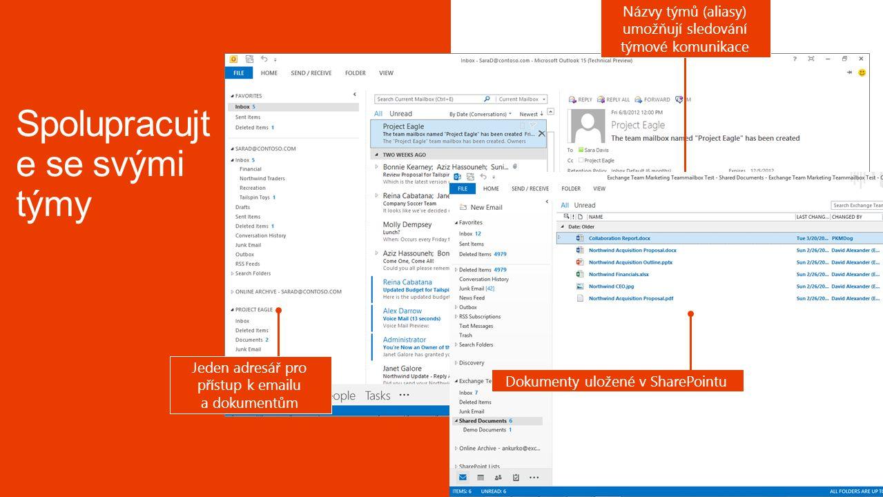 Názvy týmů (aliasy) umožňují sledování týmové komunikace Jeden adresář pro přístup k emailu a dokumentům Dokumenty uložené v SharePointu