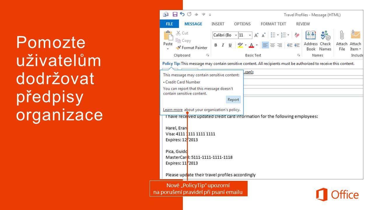 """Nové """"PolicyTip upozorní na porušení pravidel při psaní emailu"""