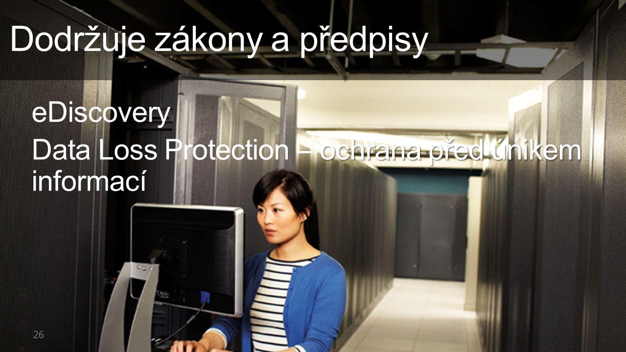 Dodržuje zákony a předpisy eDiscovery ochrana před únikem Data Loss Protection – ochrana před únikem informací