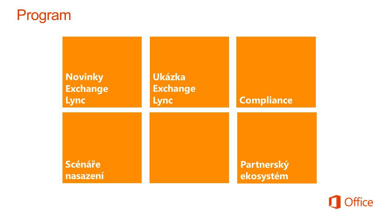 Novinky Exchange LyncCompliance Scénáře nasazení EXIT Partnerský ekosystém Ukázka Exchange Lync