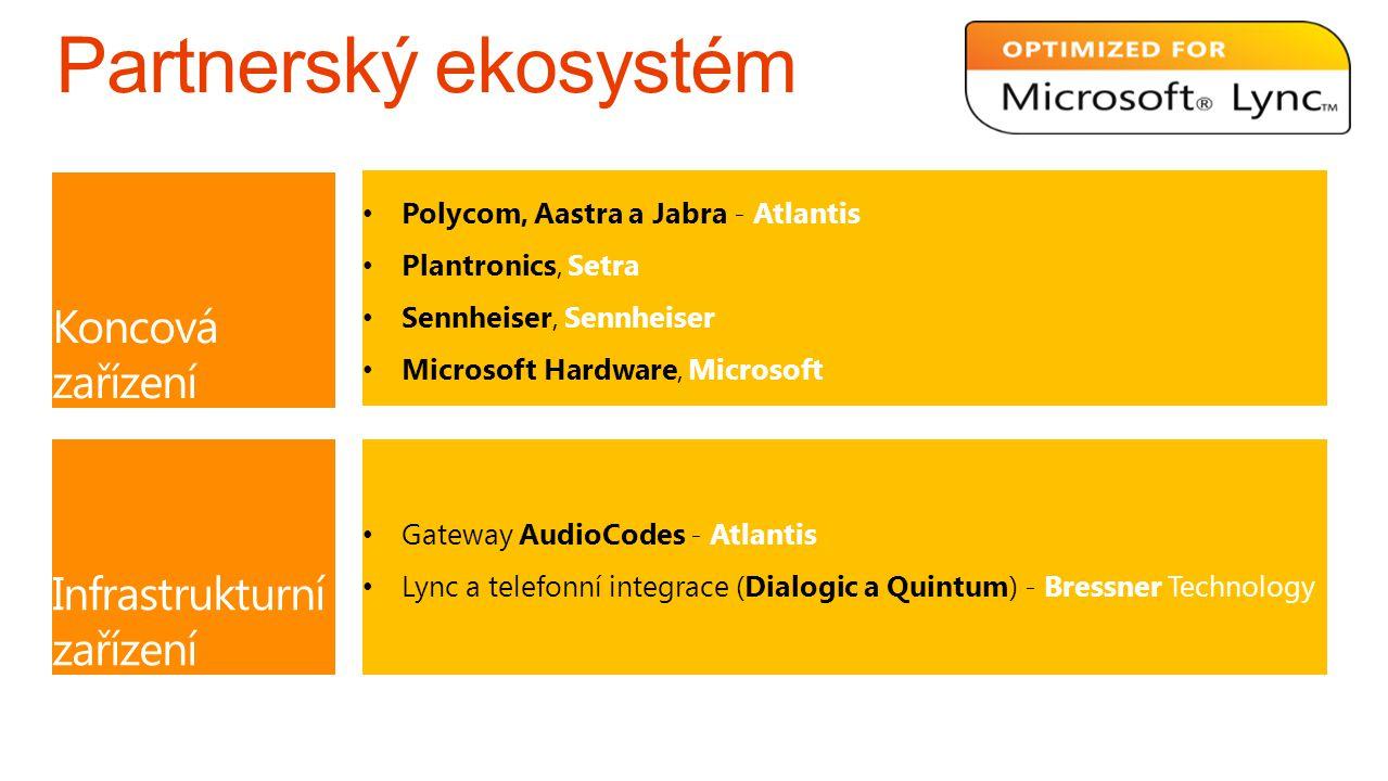 Koncová zařízení Polycom, Aastra a Jabra - Atlantis Plantronics, Setra Sennheiser, Sennheiser Microsoft Hardware, Microsoft Infrastrukturní zařízení G